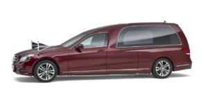 Mercedes-rood-glas-rouwauto Charon uitvaart SV