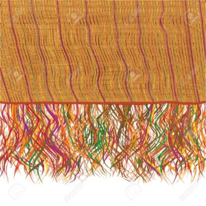 16750222 Colorful grunge striped weave knitted blanket with fringe Stock Photo